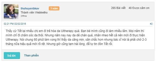 Review về công nghệ Ultherapy tại diễn đàn Webtretho