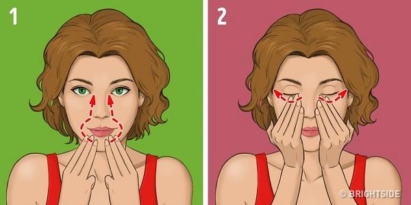 cách xóa nếp nhăn rãnh mũi má tại nhà